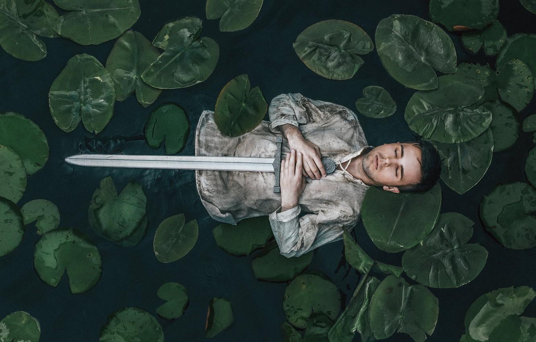 Photo wallpaper river, people, sword