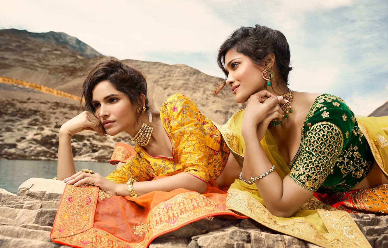 Photo wallpaper girl, fashion, eyes, smile, beautiful, model, lips, face, hair, brunette, pose, indian, makeup, saree, sari, …