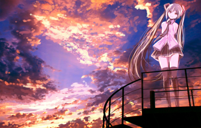 Photo wallpaper the sky, girl, sunset, Hatsune Miku, Vocaloid