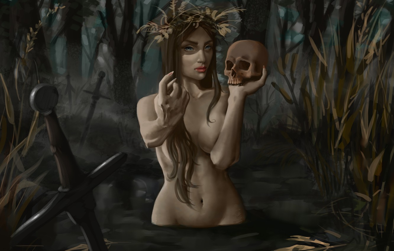 Photo wallpaper skull, swamp, claws, trap, swords, demoness, evil, lures, damn place, drowned, by Vulpes94