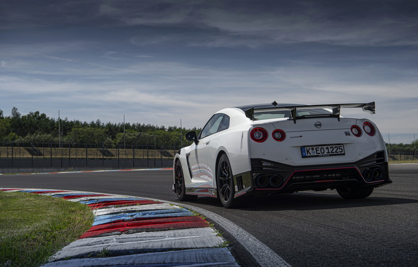 Photo wallpaper white, Nissan, GT-R, track, R35, Nismo, feed, 2020, 2019