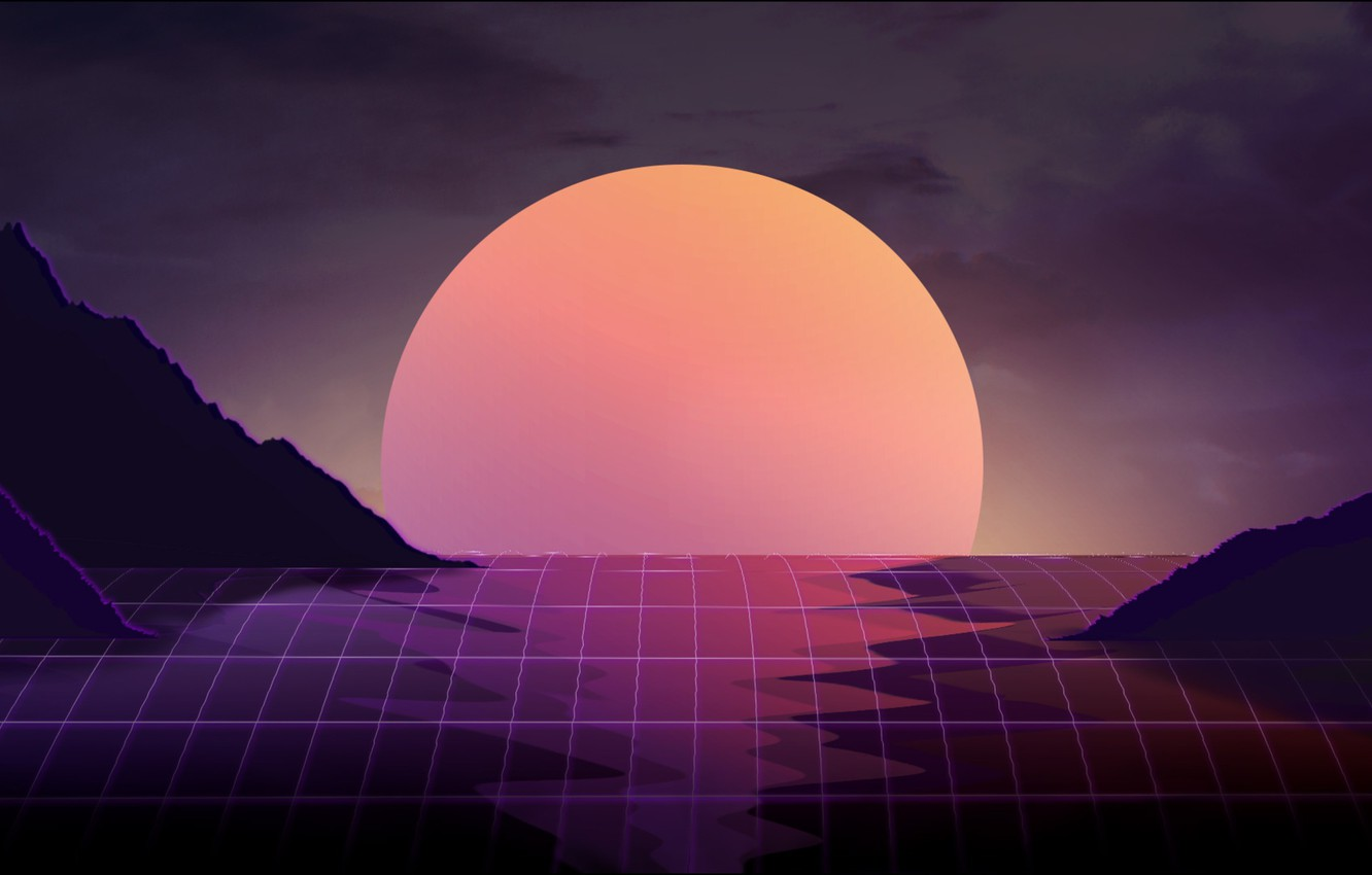 Photo wallpaper The sun, Music, Star, Background, Art, 80s, 80's, Synth, Retrowave, Synthwave, New Retro Wave, Futuresynth, …