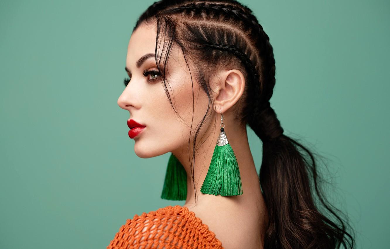 Photo wallpaper face, background, model, portrait, makeup, brunette, hairstyle, profile, beauty, ponytail, bokeh, Oleg Gekman