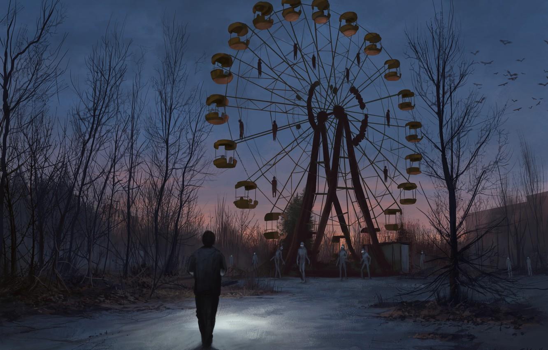 Photo wallpaper The evening, Monsters, People, Wheel, Ferris wheel, Park, Chernobyl, Pripyat, Art, Monster, Stefan Koidl, by …