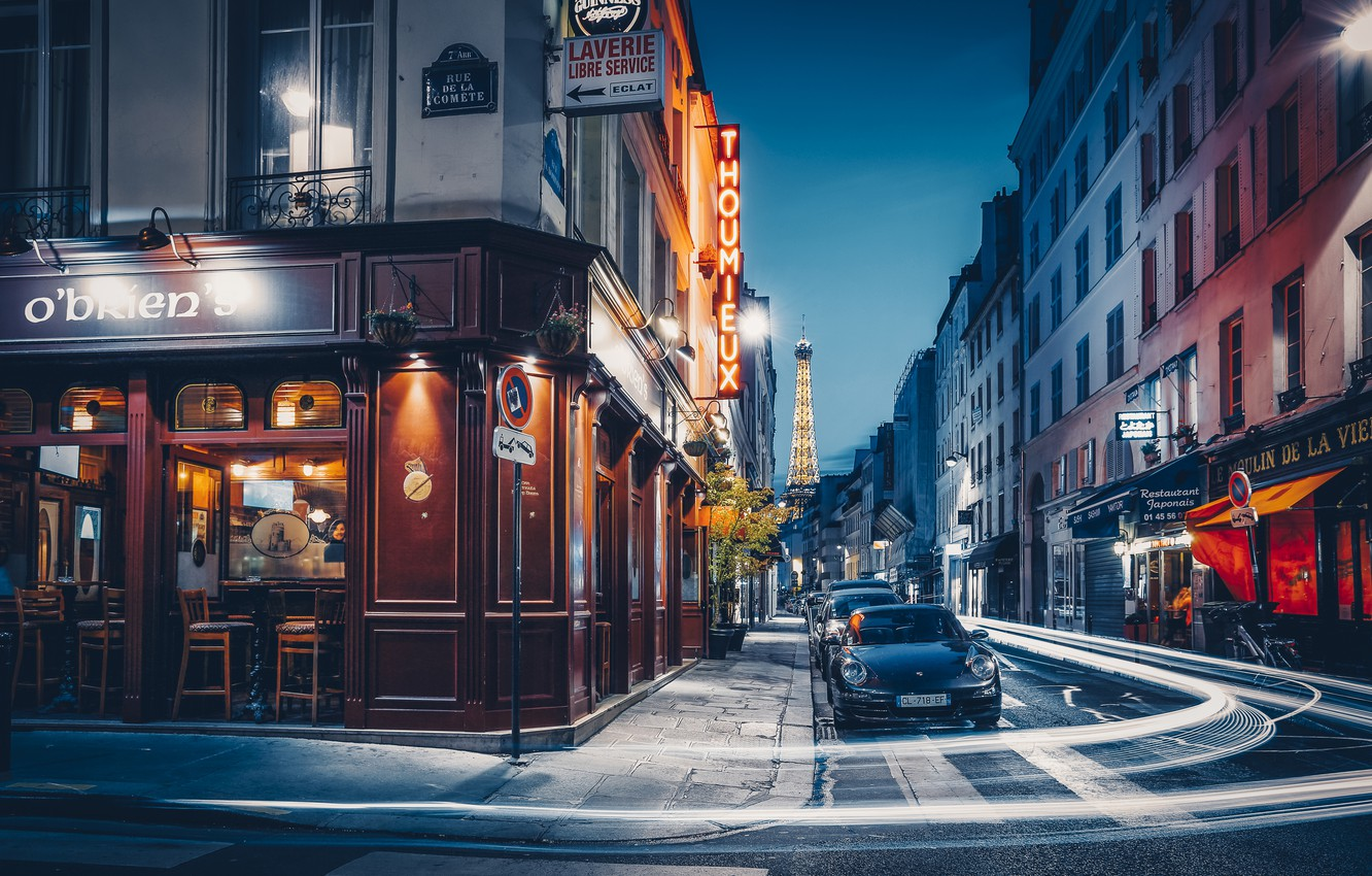 Photo wallpaper machine, the city, street, France, Paris, building, home, the evening, lighting