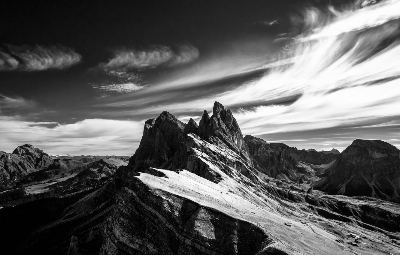 Wallpaper The Sky Clouds Snow Mountains Rocks Black And White