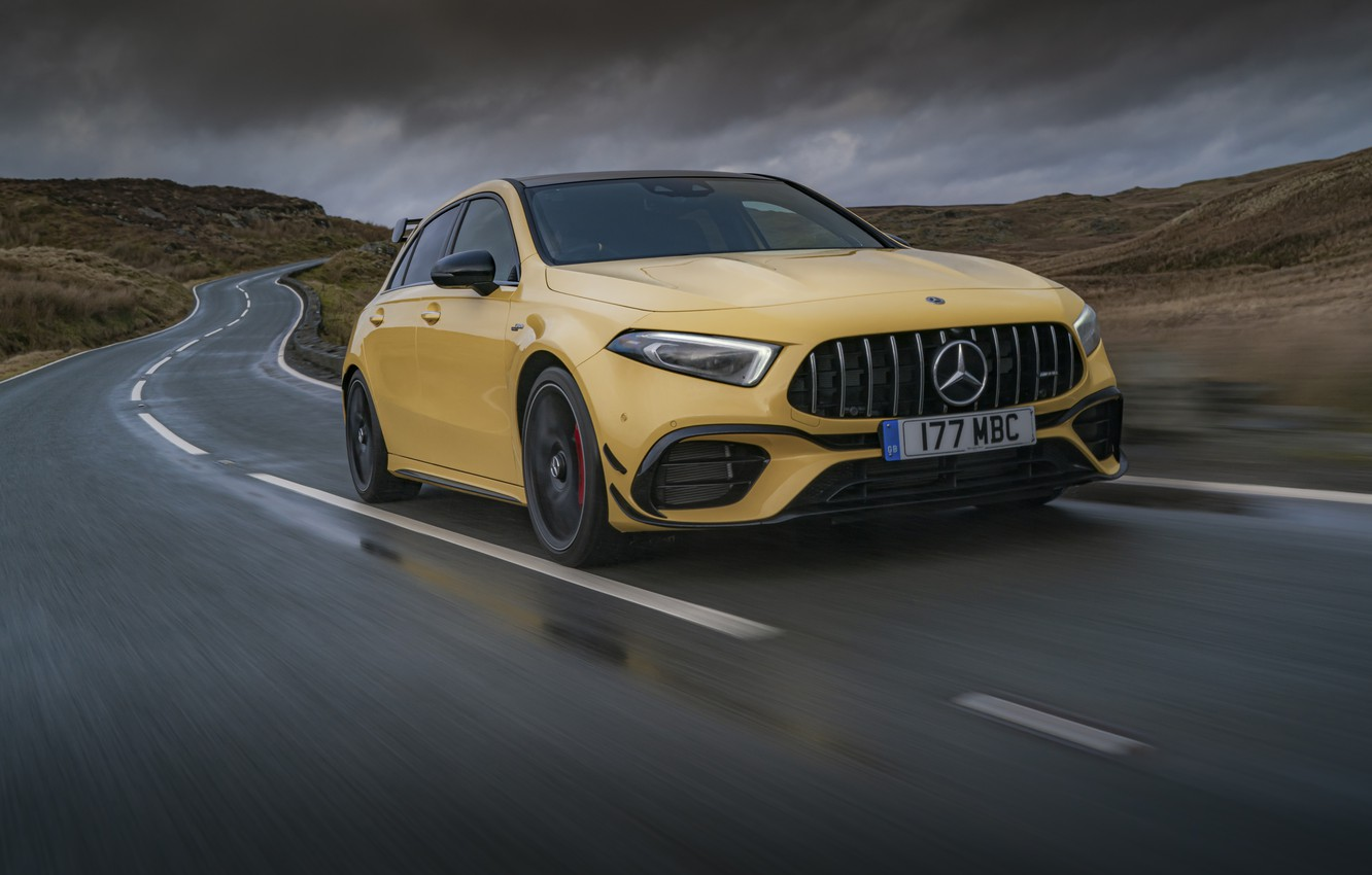 Photo wallpaper road, Mercedes-Benz, speed, AMG, hatchback, UK-spec, 2020, 4MATIC+, A45 S, Aerodynamic Package