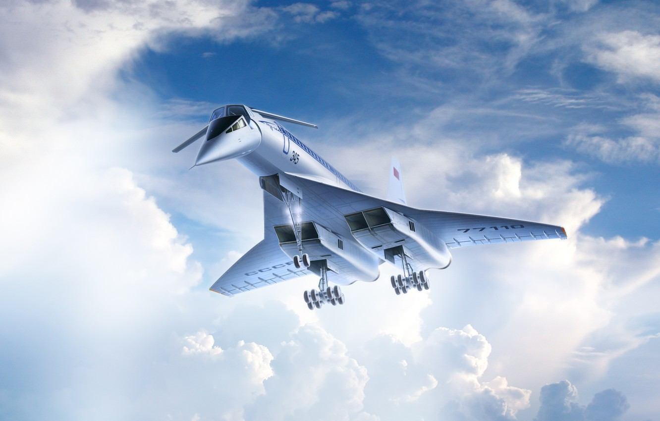 Photo wallpaper The sky, Clouds, Liner, Flight, Board, USSR, USSR, Clouds, Sky, Aviation, Charger, Tupolev, Flying, The …