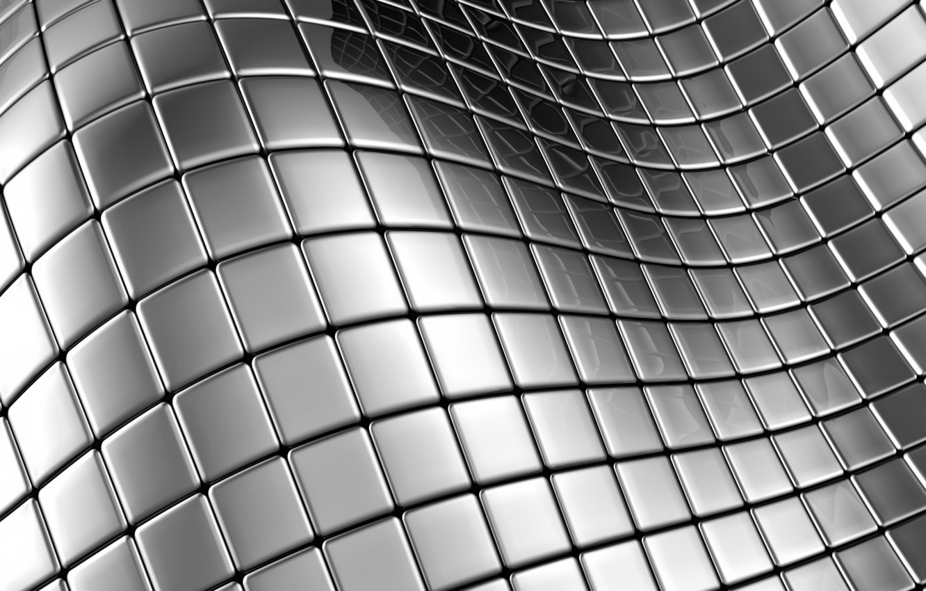 Photo wallpaper metal, reflection, lights, Shine, texture, squares, bending, smooth surface