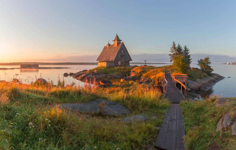 Photo wallpaper sea, landscape, house, stones, morning, grass, the bridge, island, Vaschenkov Pavel