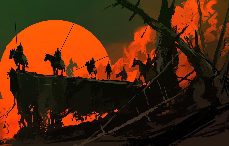 Photo wallpaper Sunset, The sun, Figure, Fantasy, Art, War, Concept Art, Dominik Mayer, Environments, by Dominik Mayer, ...