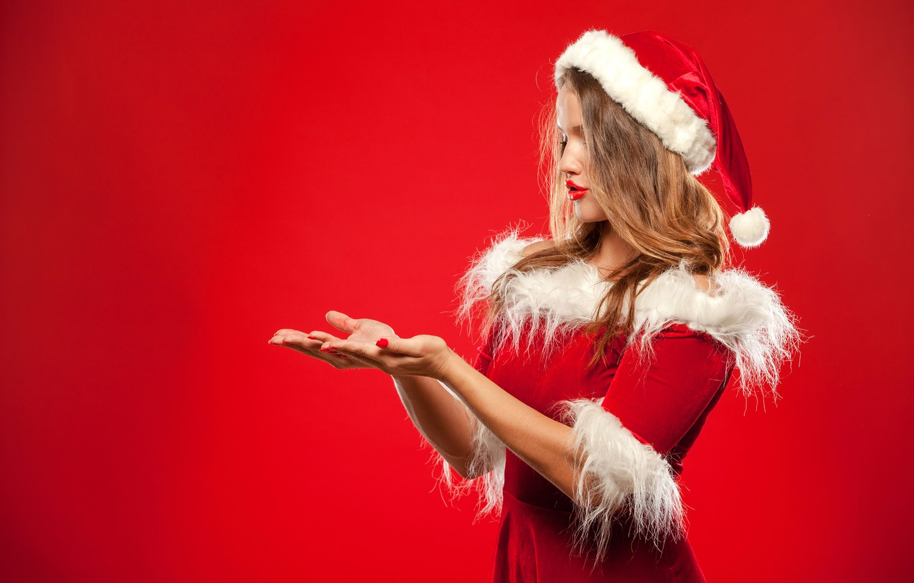 Photo wallpaper pose, model, hat, new year, hands, makeup, dress, hairstyle, outfit, brown hair, beauty, is, in …