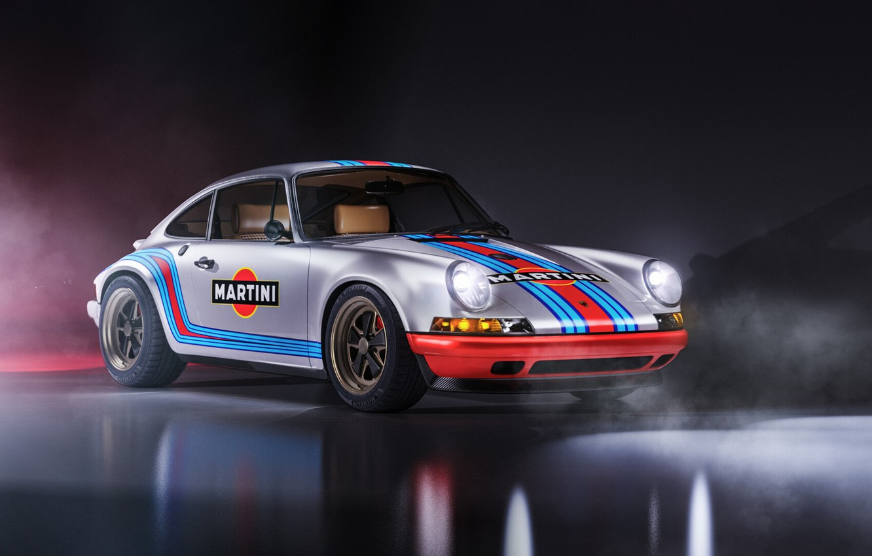 Photo wallpaper Auto, Machine, Grey, Porsche 911, Rendering, Retro, Martini, Sportscar, Transport & Vehicles, Javier Oquendo, by ...