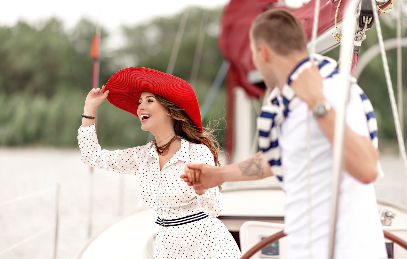 Photo wallpaper girl, love, stay, yacht, pair, guy, walk