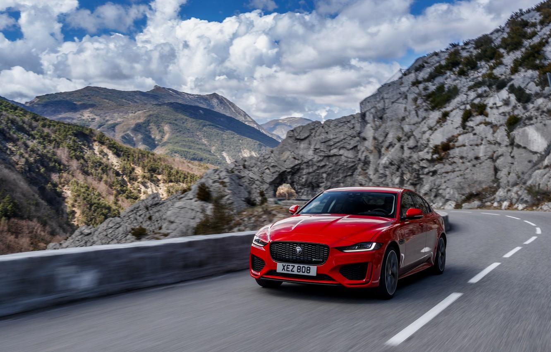 Photo wallpaper road, mountains, red, speed, Jaguar, sedan, 2020, Jaguar XE