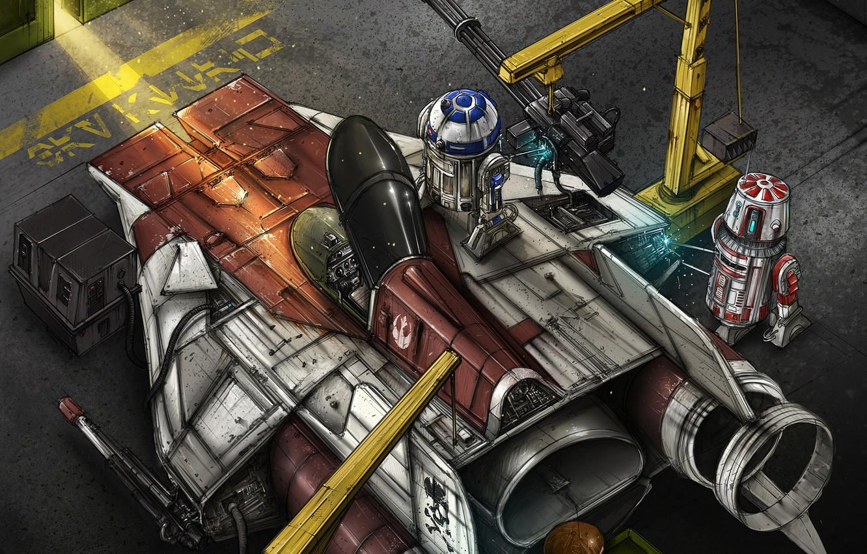 Photo wallpaper Figure, Fighter, Star Wars, R2D2, Art, Star Wars, Illustration, R2-D2, Comic Art, Droids, The droids, …