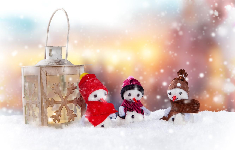 Photo wallpaper winter, light, snow, background, holiday, candle, Christmas, lantern, three, New year, snowmen, snowman, caps, trio, …
