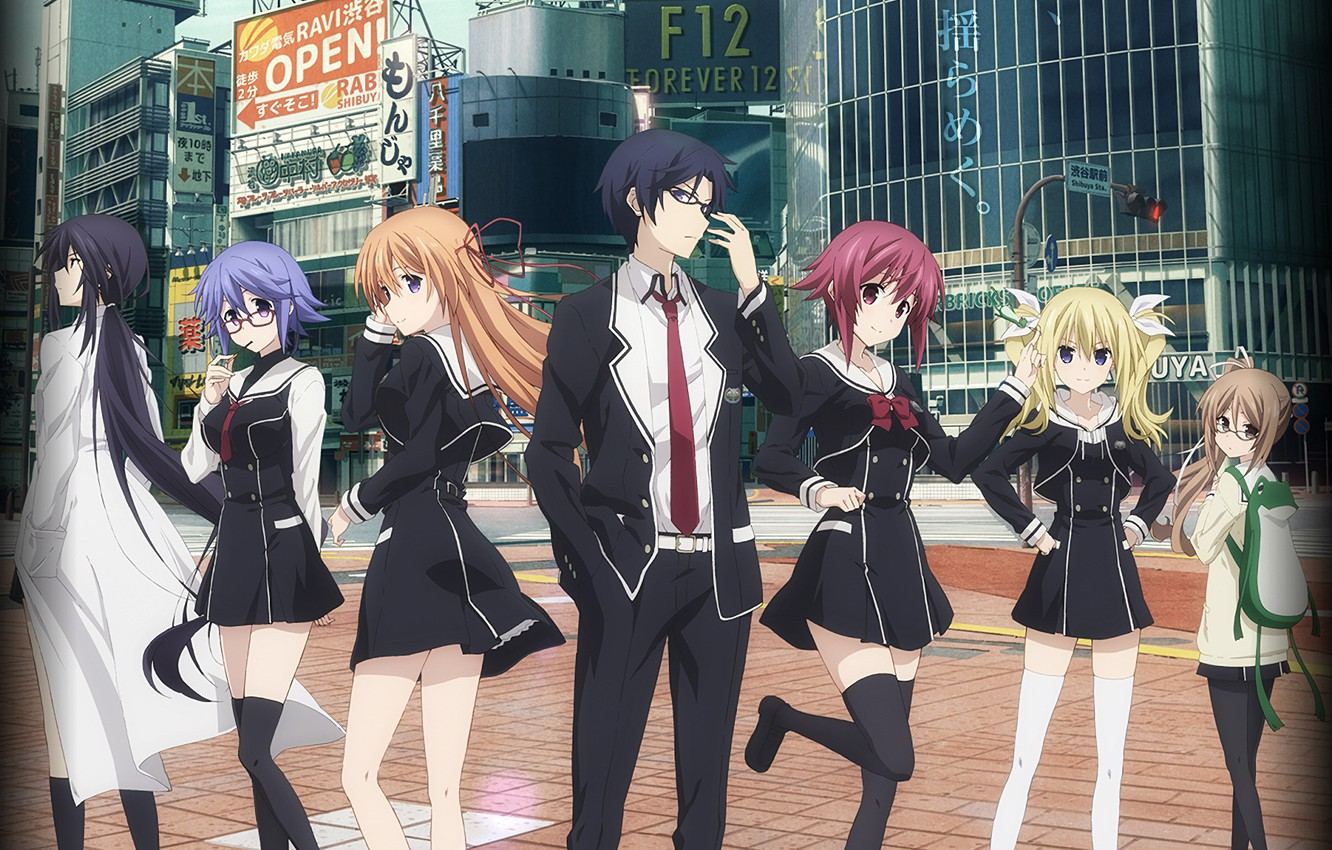 Photo wallpaper the city, girls, anime, art, guy, characters, Chaos Top, chaos head