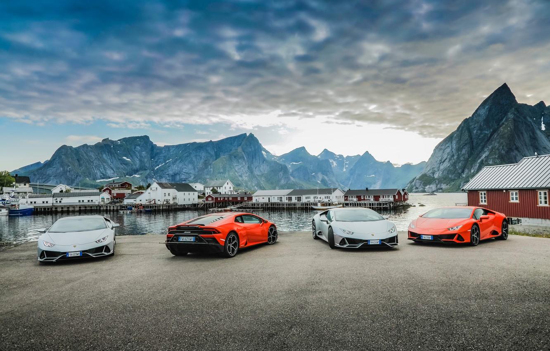 Photo wallpaper the sky, water, mountains, machine, Lamborghini, Evo, Huracan