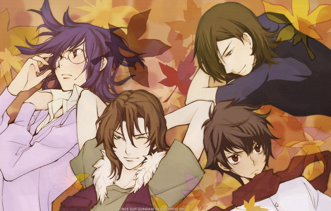 Photo wallpaper glasses, face, guys, characters, maple leaves, Gundam, four friends