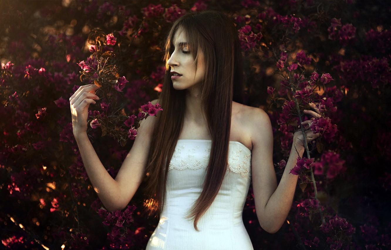 Photo wallpaper girl, nature, spring, Mar Kalina