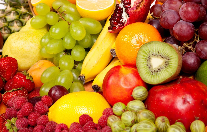 Photo wallpaper photo, Berries, Fruit, Kiwi, Grapes, Food, Raspberry, Gooseberry