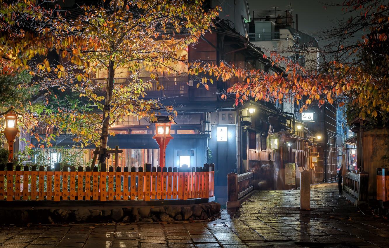 Photo wallpaper night, the city, street, home, Japan, lighting, lights, Kyoto, the fence