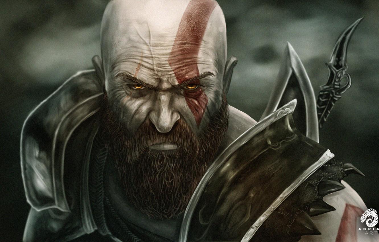 Photo wallpaper Face, Warrior, Fantasy, Art, Art, Kratos, God of War, Fiction, Kratos, Illustration, Character, God of …