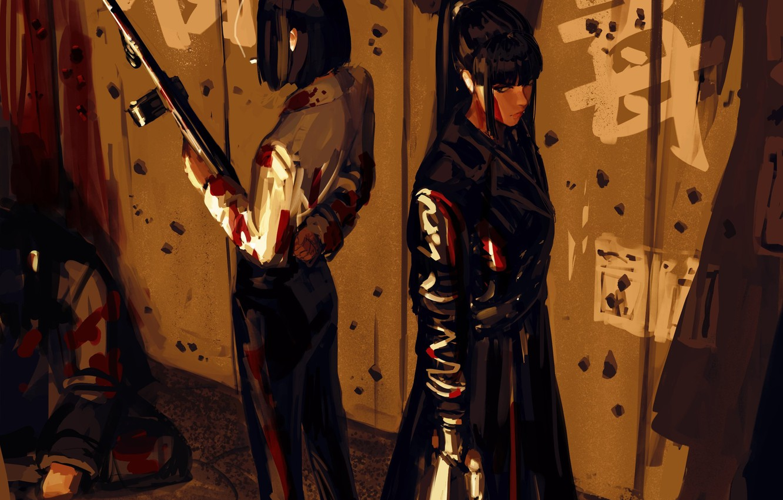 Photo wallpaper look, girl, weapons, art, male, art