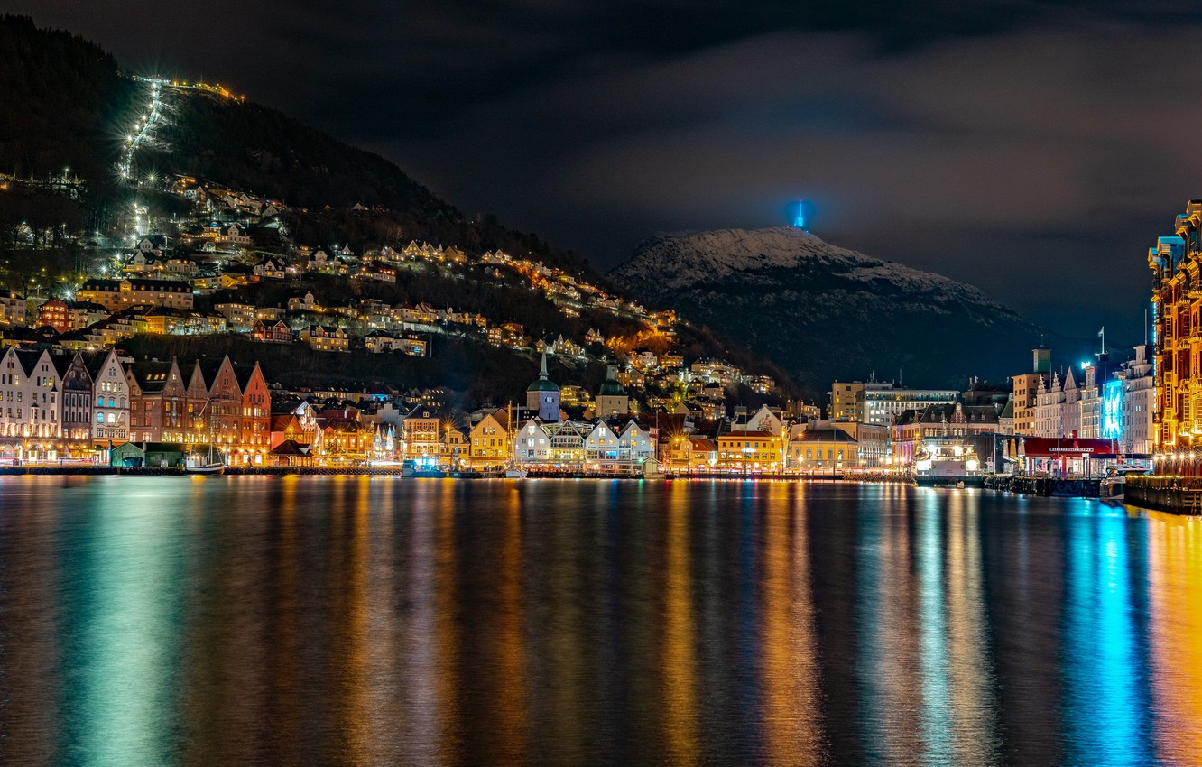 Photo wallpaper mountains, night, lights, home, boats, Norway, lights, Bay, piers, Mountains