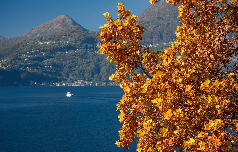 Photo wallpaper autumn, mountains, ship, Italy, lake Como, Varenna