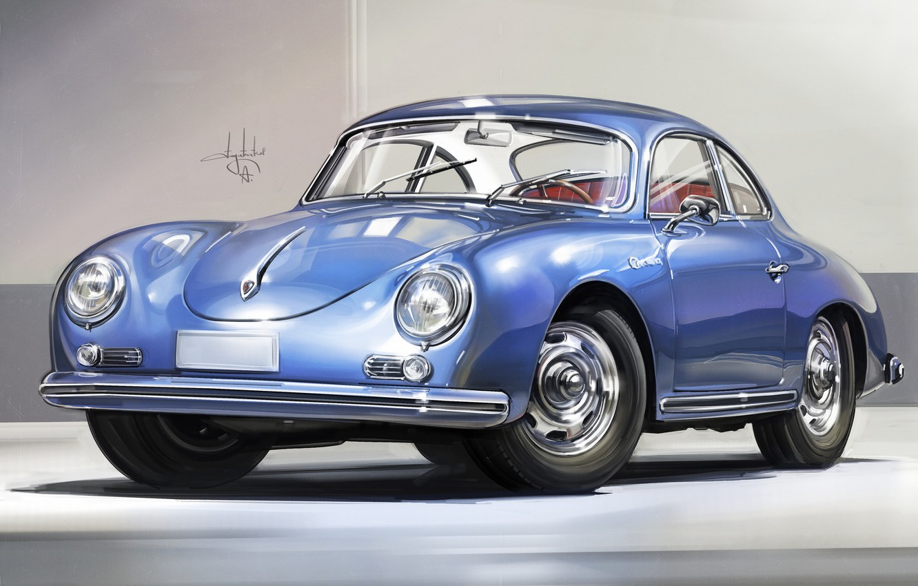 Photo wallpaper Car, Retro, Sketch, Porsche 356, Alexander Sidelnikov