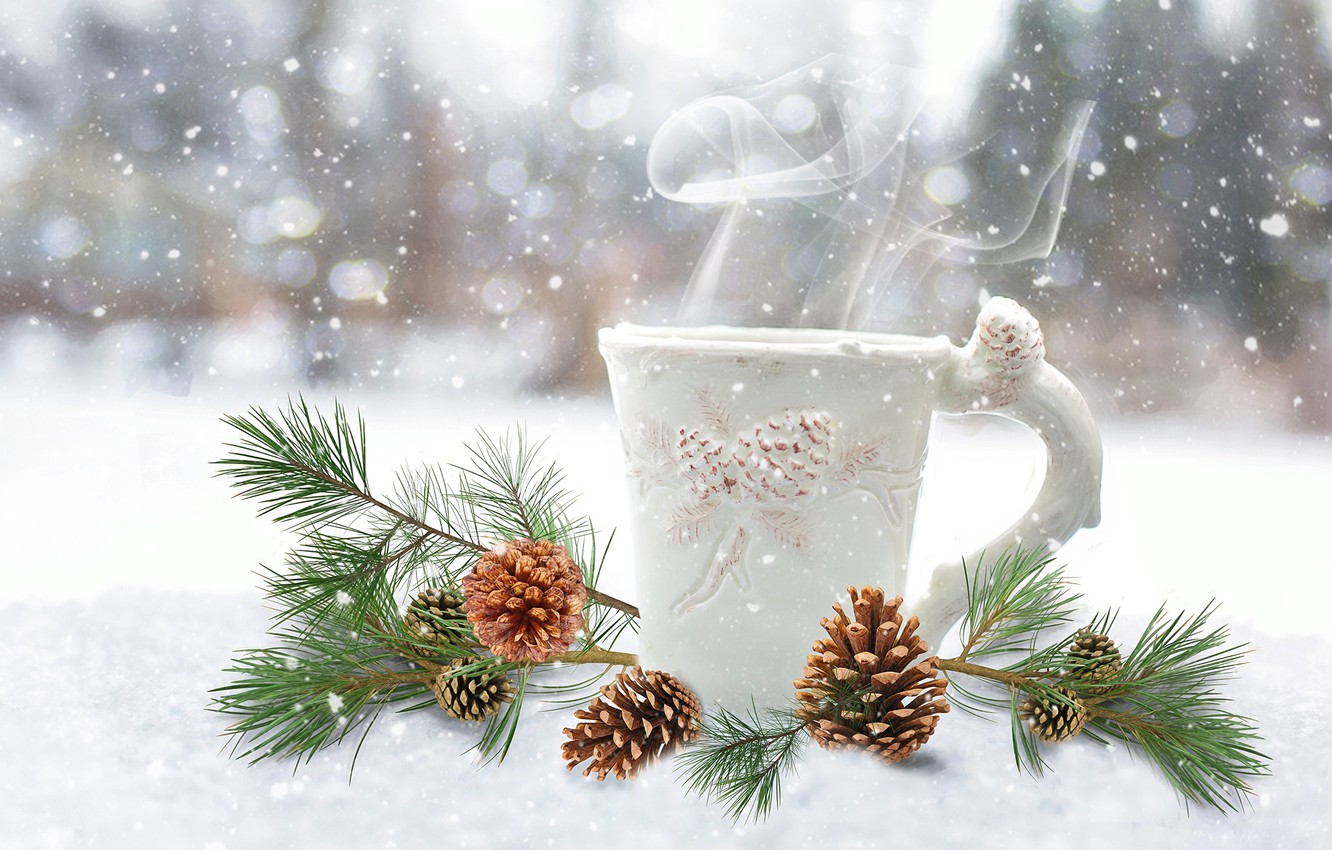 Photo wallpaper winter, couples, mug, Cup, New year, Christmas, bumps, New Year