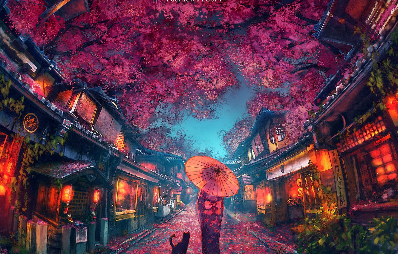 Wallpaper Umbrella Japan Girl Kimono The Light In The Windows Evening City The Red Lanterns Black Cat The Cherry Blossoms City Street By Yuumei Images For Desktop Section Art Download