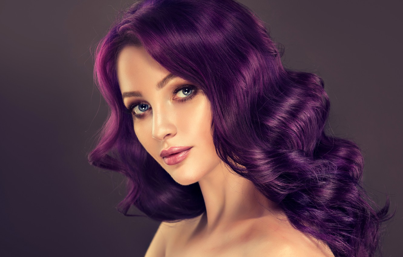 Wallpaper Look Girl Background Portrait Makeup Hairstyle Beautiful Bokeh Purple Hair Images For Desktop Section Devushki Download