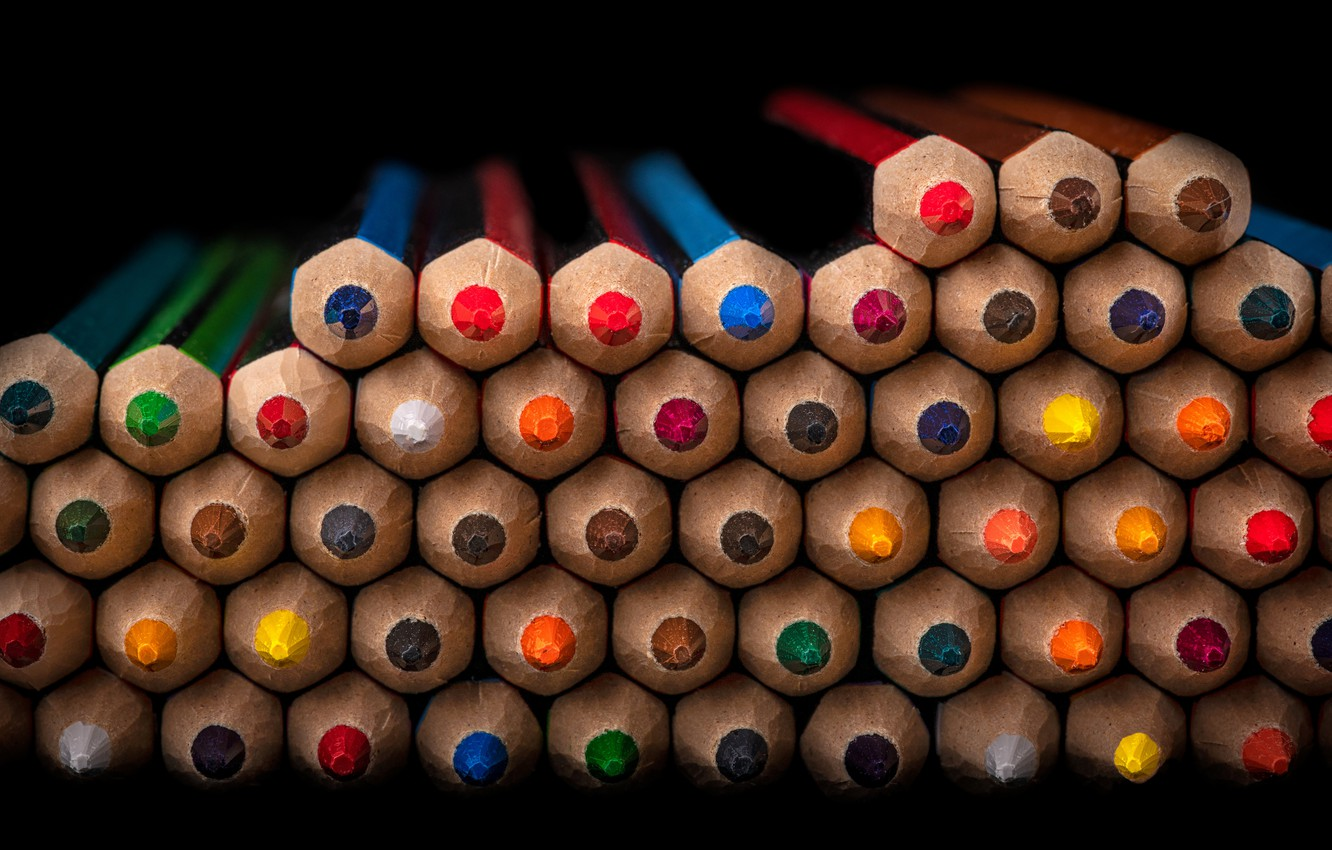 Photo wallpaper macro, colored, cell, pencils, stack, black background, colorful, a lot, wooden, folded, eroded, leads