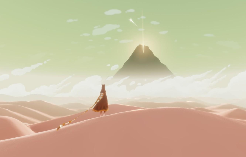 Photo wallpaper landscape, desert, mountain, dunes, shooting star, Journey, Journey