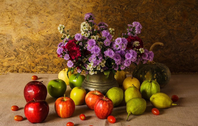 Photo wallpaper flowers, apples, bouquet, pumpkin, fruit, still life, vegetables, pear, flowers, fruit, still life, vegetable