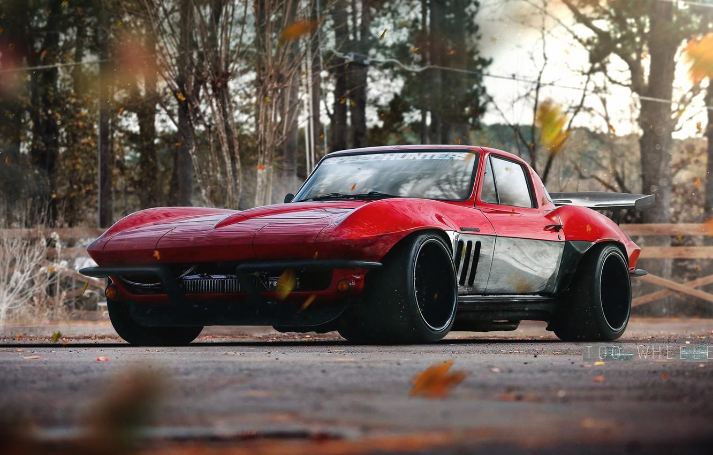 Photo wallpaper Red, Auto, Corvette, Chevrolet, Retro, Machine, Chevrolet Corvette, Transport & Vehicles, by TOO WHEELED, TOO ...