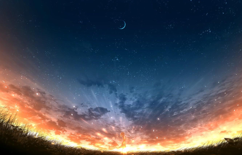 Photo wallpaper sunset, nature, girl, Crescent