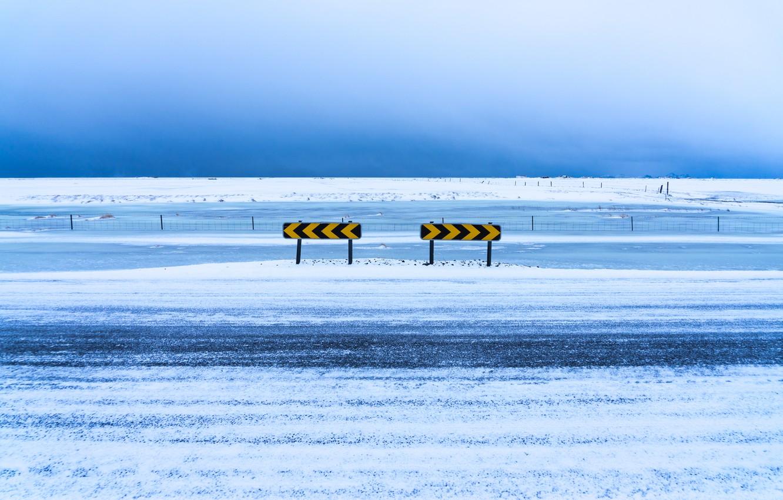 Photo wallpaper winter, road, snow, signs