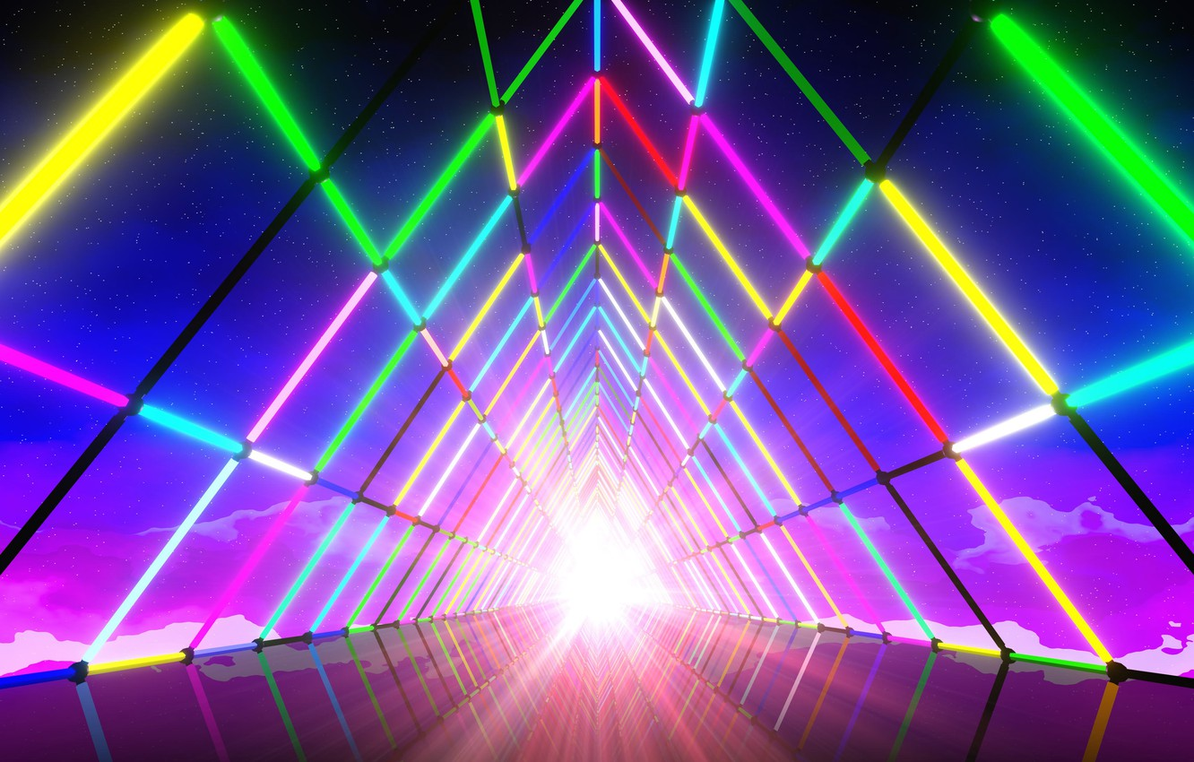 Wallpaper Music, Neon, Light, Background, The tunnel, Neon, Synth