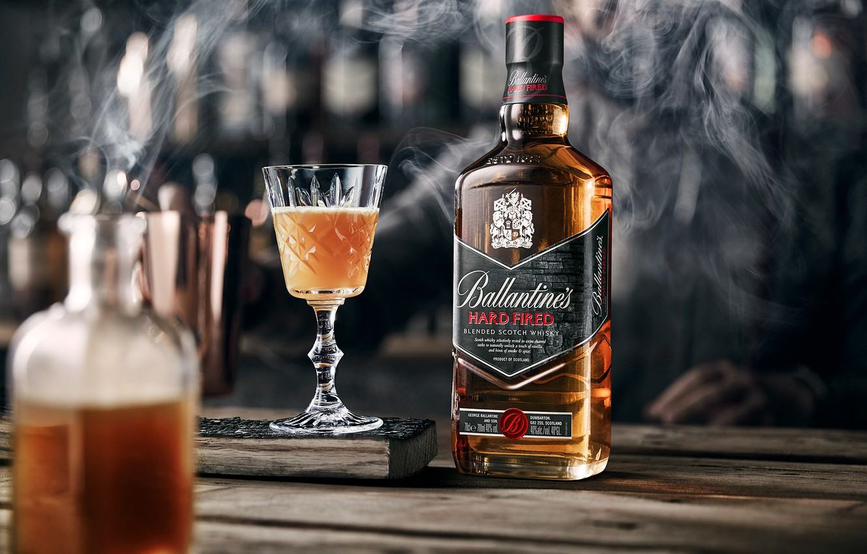 Photo wallpaper smoke, glass, alcohol, drink, whiskey, smoke, Whiskey, Ballantine's