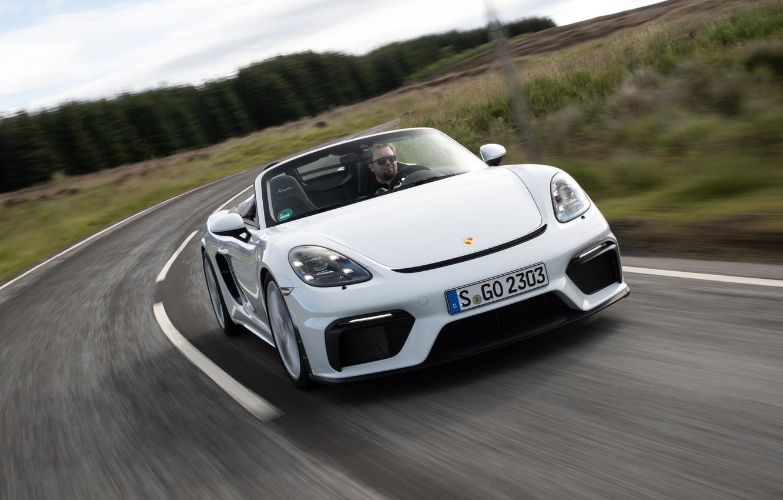 Photo wallpaper Road, Porsche, Speed, Lights, Spyder, Porsche 718, 2019, Porsche 718 ( 982 ) Spyder
