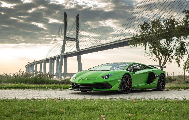 Photo wallpaper bridge, Lamborghini, supercar, 2018, Aventador, Lisbon, SVJ, Aventador SVJ