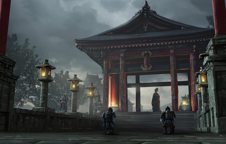 Photo wallpaper fire, posts, armor, gate, Japan, lights, ladder, twilight, Japanese clothing, art, estate, on my knees, …