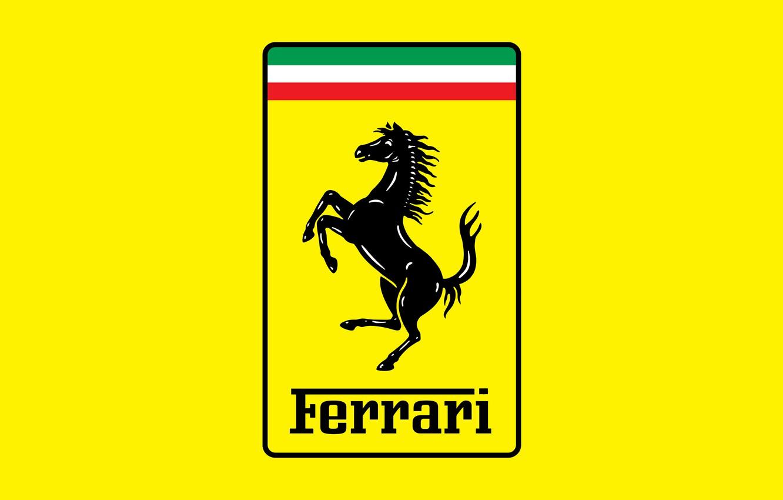 Photo wallpaper yellow, horse, logo, logo, ferrari, Ferrari, yellow, fon, horse