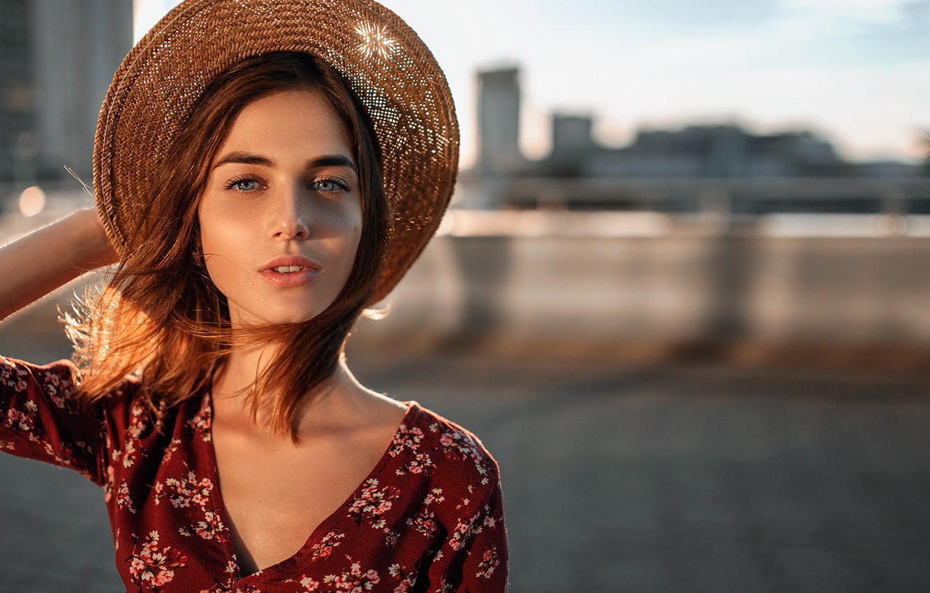 Photo wallpaper look, the sun, the city, pose, background, model, portrait, hat, makeup, dress, hairstyle, brown hair, ...