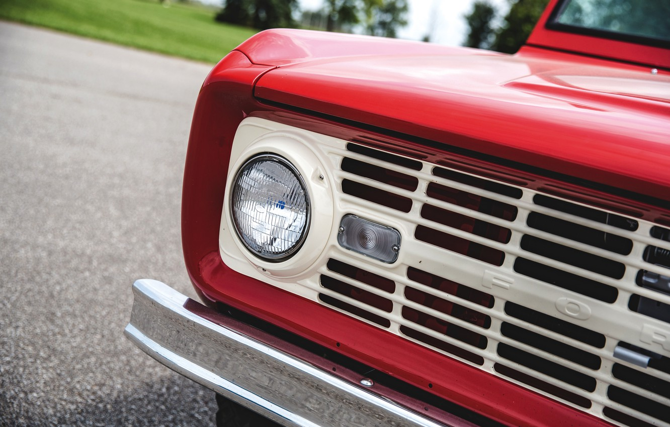 Photo wallpaper red, Roadster, Ford, headlight, 1966, Bronco, slot