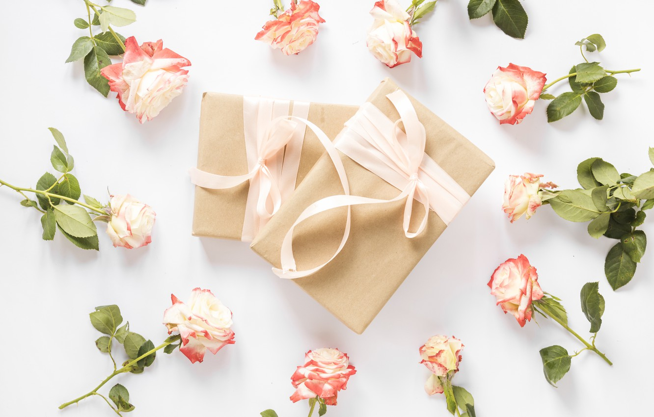 Photo wallpaper flowers, background, roses, buds, pink, flowers, holidays, gift, roses